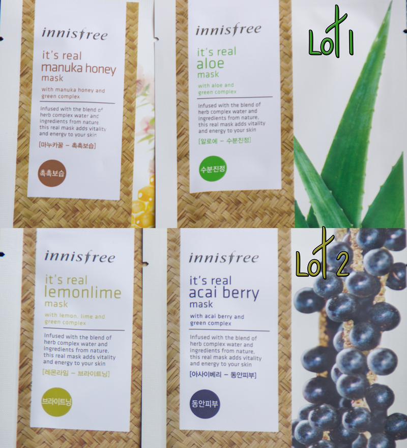Lots de consolation : Lot 1 : Masques Aloe Vera et Miel de Manuka Lot 2 : Masques Citron et Acai Berry