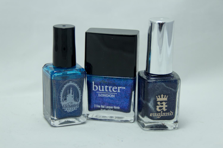 Mon Top 3 des vernis Bleus! Au milieu : Scouse de Butter London A droite : Tristam de A England